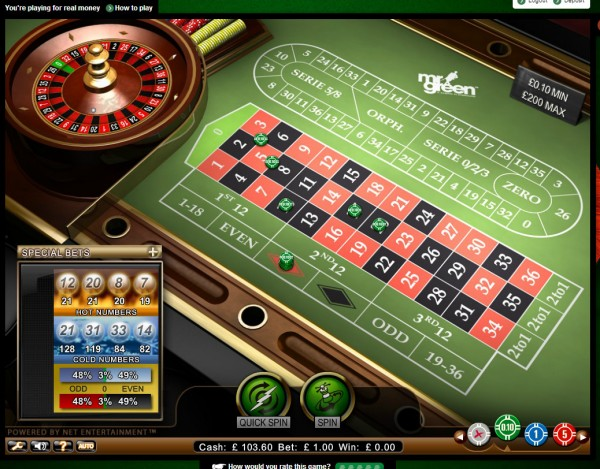 Mr Green Roulette Screenshot